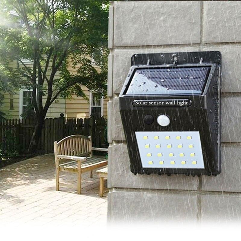 LED linterna al aire libre de pared solar impermeable jardín Luz de calle de sensor automáticamente lámpara motion camino público noche blubs