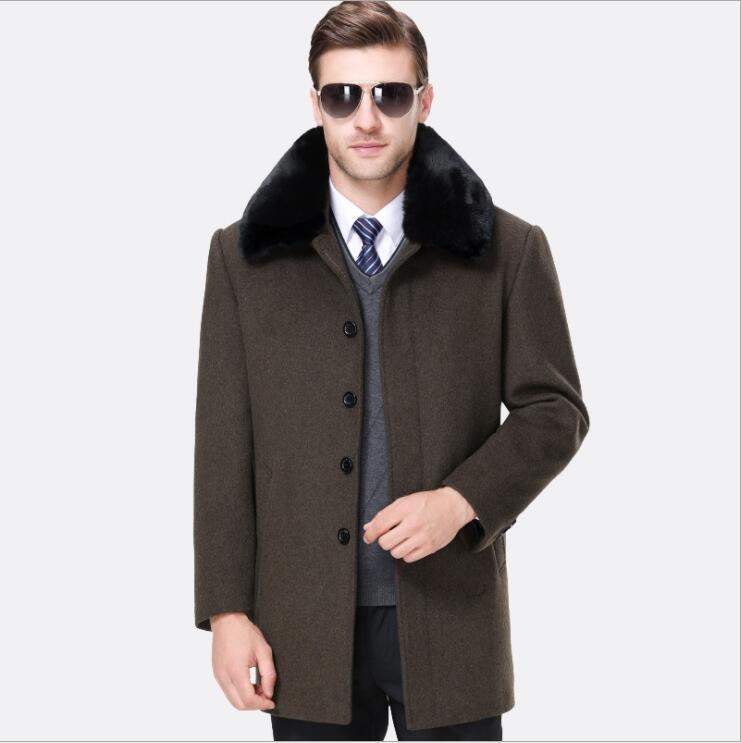 Automne hiver hommes manteau épais en laine bleu gris velours laine Trench manteau longue Section simple boutonnage vêtements avec col en fourrure