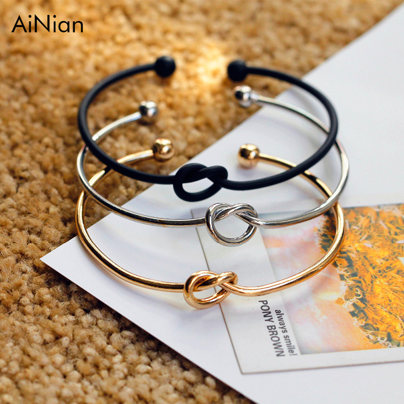 AiNian Original Design Very Simple About Pure Copper Casting Love Knot Knot Open Metal Bangle Bracelet Love Bracelet ...