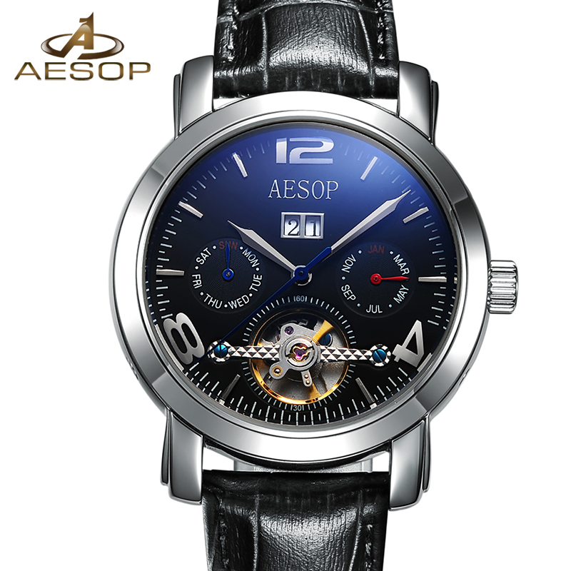 AESOP Black Watch Men Automatic Mechanical Hollow Leather Wristwatch Calendar Fashion Male Clock Relogio Masculino Hodinky 46 aesop top brand fashion watch men waterproof luminous automatic mechanical wristwatch male clock calendar relogio masculino 46