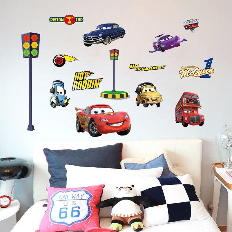 Mode de Bande Dessinée Voitures Histoire Stickers Muraux Mignon Enfants Chambre Maternelle Salon Fond Stickers Muraux