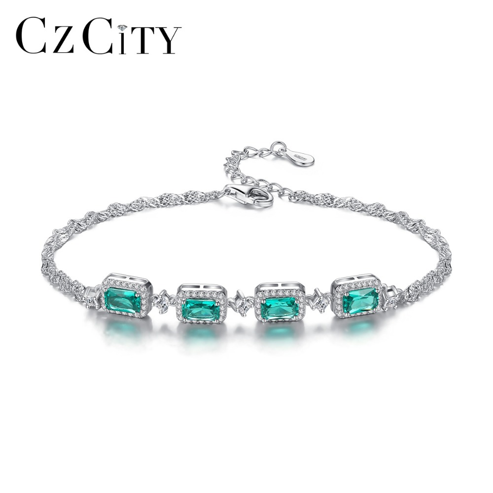 CZCITY High Quality Luxury Emerald Bracelet for Women 925 Silver Sterling Charming Twin Chains Wedding Bracelet