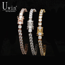 UWIN 1 Row Rose Gold Zircon Tennis Chains Bracelet Gold color Color Copper Iced Out CZ Chain Hip hop Jewelry Gift Drop Shipping