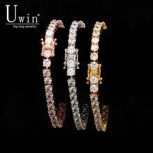 UWIN 1 שורה עלה זהב זירקון טניס שרשרות צמיד זהב צבע צבע נחושת אייס מתוך CZ שרשרת היפ הופ תכשיטים מתנות Drop חינם