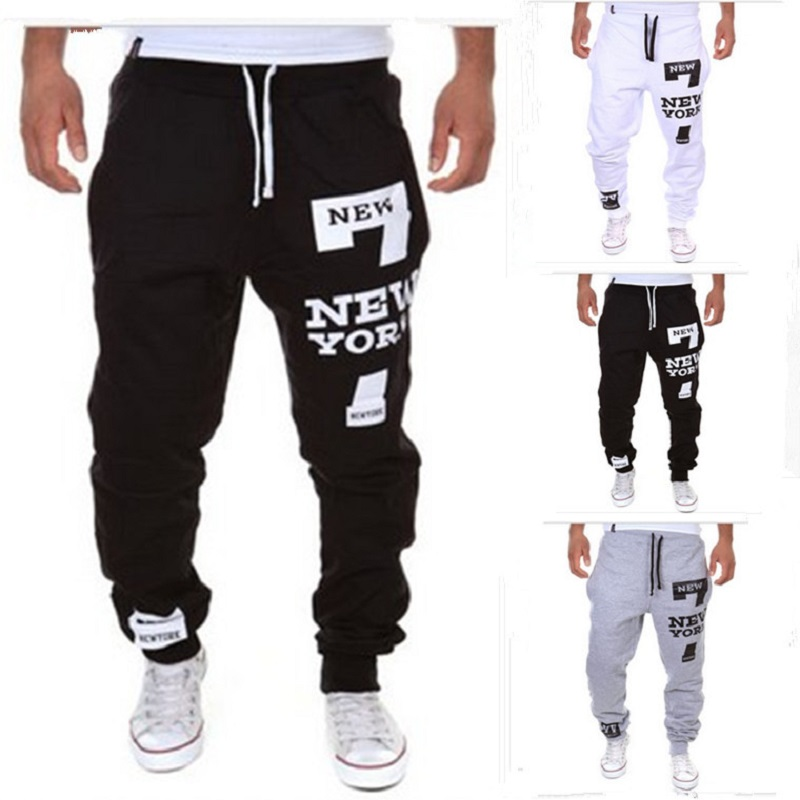 Men's Pants 7 New York Letter Print Sweatpants Joggers Male Cotton Lace-up Casual Trousers Pants Plus Size