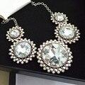 Maxi moda strass flor de cristal gargantilha pingentes colar gypsy boho do vintage declaração colar de jóias mulheres 2016