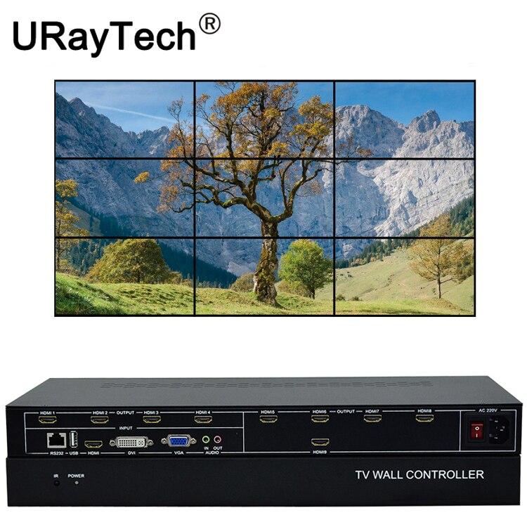 9 Channels TV Video Wall Controller 3x3 2x4 4x2 HDMI DVI VGA USB Video Processor TV Splicing Box With RS232 Control