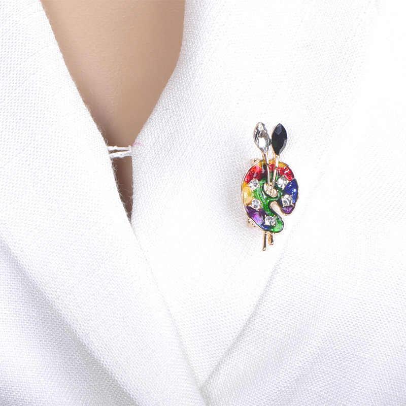Blucome เคลือบสีสัน Pigment Palette เข็มกลัดทองสีคริสตัลสีแปรงที่ดีที่สุดสำหรับจิตรกรเข็มกลัด Hijab Pins