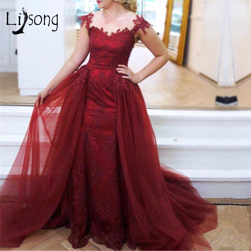 Dark Wine Red Lace Mermaid   Evening     Dresses   With Tutu Detachable Train Vintage Appliques Prom Gowns Long Vestido De Festa Longo