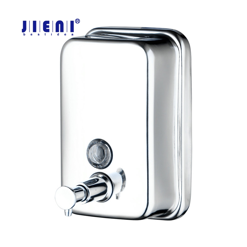 JIENI Soap Dispenser Square Wall Liquid Soap Bottle Bathroom Kitchen Accessories Stainless Steel Material kitchen bathroom sink soap lotion dispenser head stainless steel abs bottle