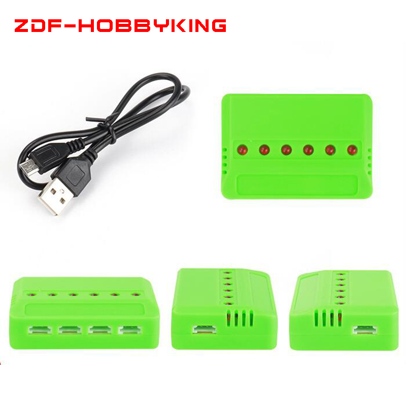 1pcs <font><b>3.7v</b></font> 150mah 200mah <font><b>350mAh</b></font> 450mah 600mah 25c 6 Port USB <font><b>LiPo</b></font> <font><b>Battery</b></font> Charger for Hubsan Wltoys Helicopter 69WX image