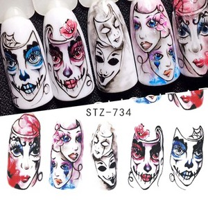 Image 2 - 24pcs Cool Halloween Sliders Nail Art Stickers DIY Water Temporary Tattoos Clown Skull Designs for Manicure Decals CHSTZ731 755