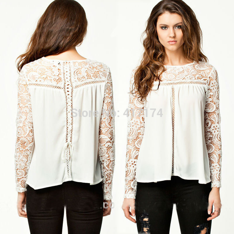 Aliexpress com   Buy KJ3987 2015 Ladies New Stylish Casual tops Long Sleeve  Chiffon Lace blouse ladies Latest Design from Reliable blouse neck  suppliers on. Aliexpress com   Buy KJ3987 2015 Ladies New Stylish Casual tops