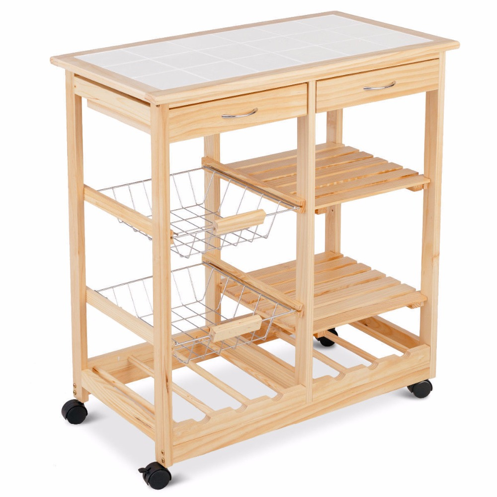 Goplus Rolling Wood Kitchen Trolley Cart Island Shelf w/ Storage Drawers Baskets New HW58491NA 5
