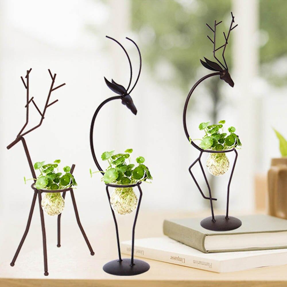 Alarm Creative Hydrocultuur Planten Transparante Glazen Vaas Met Ijzer Herten Ontwerp Stand Houder Voor Thuis Woonkamer Tafel Decoratie
