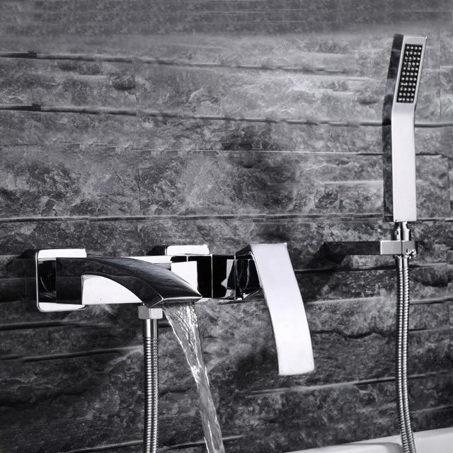 De luxe cascade robinet de la baignoire, en laiton Chaude et froide robinet de bain, cascade salle de bains robinets De Douche Set de douche titulaire de poche tête
