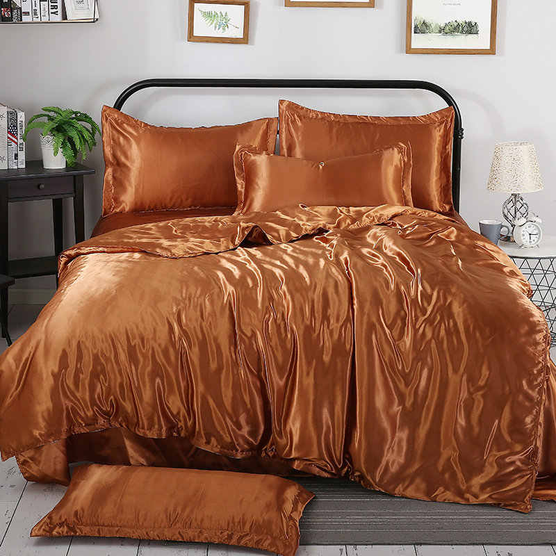 Tencel satin silk Bedding Sets Luxury Bedding Kit Duvet Cover Sets Queen King size bed sets No filler Free shipping