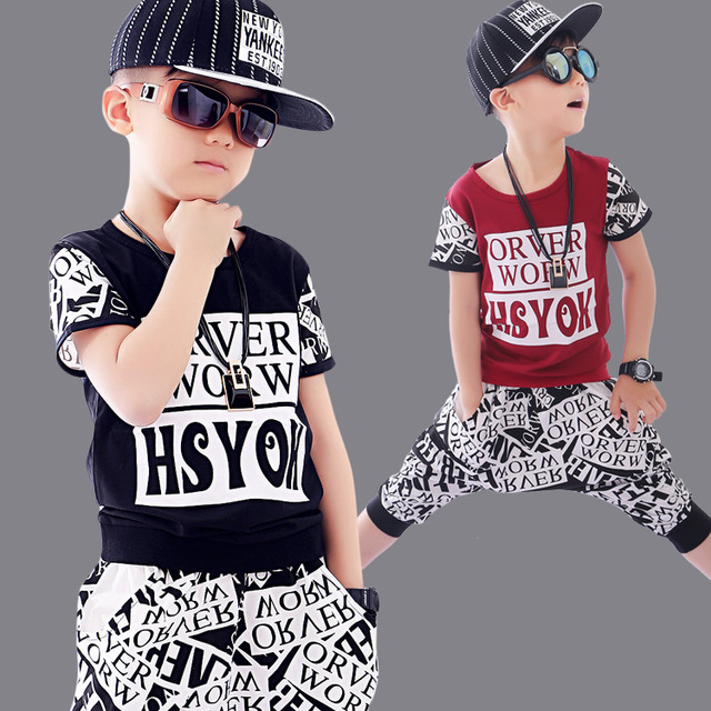 2018 Summer Boys Dancing Clothes 2 Pcs Childrens Wear Hip Hop Clothing Set Wholesale Kids Short
