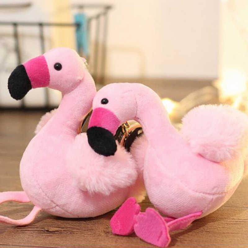 Pom Pompom Fofo Saco De Pele Mulher Encantos Flamingo Chaveiro Chaveiros Carro Pingente de Chave Anel Titular de Jóias de Natal