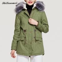 2018 Green Parkas Female Women Winter Coat Fur Hooded Collar Winter Jacket Womens Outwear Parkas For Women Winter Drawstring