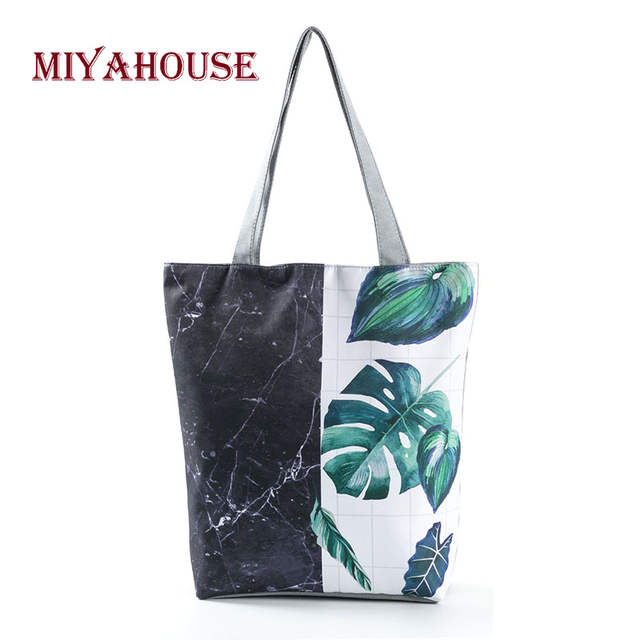 size 7 best sneakers shoes for cheap Miyahouse Green Leaves Printing Beach Bag Women Hit Color Shoulder Bags  Fashion Female Shopping Bag Summer Girls Beach Bags