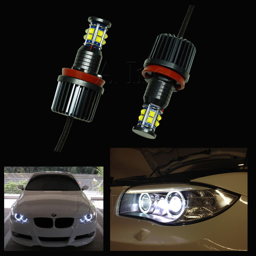 ФОТО 2PCS 120W H8 LENS Angel Eyes Halo Ring For BMW LED Auto Lamp Headlight Fog Light Daytime Running Light Lamp Bulb White