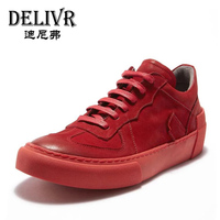 Delivr Sneakers Men Shoes Casual 2019 New Fashion Red Genuine Leather Platform Outdoor Casual Shoes Male Shoes Sneaker Men