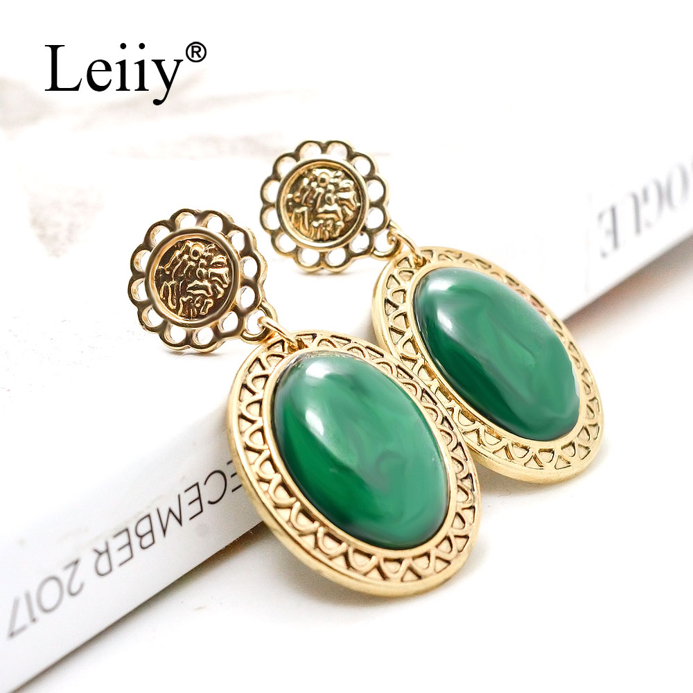 LEIIY Green Rhinestone Stone Drop Earrings For Women Vintage Gold Color  Hollow Out Carve Dangle Earrings Fashion Jewelry-in Drop Earrings from  Jewelry ... 8618a3ddf529