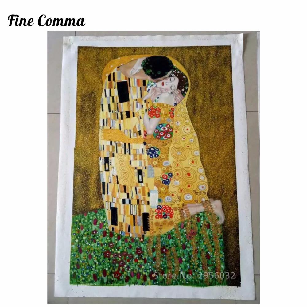 Poljub (ljubimci) avtorja Gustav Klimt slikarstvo na platnu stenske - Dekor za dom - Fotografija 2