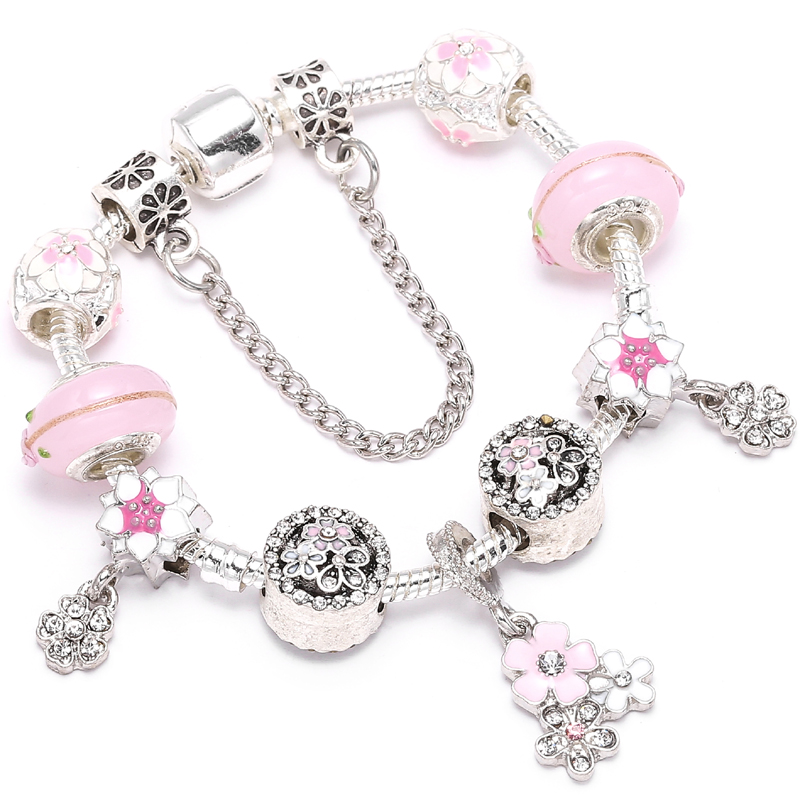 CHIELOYS Cherry Blossoms Pendant Charm Bracelets With Enamal Bead Fine Bracelet Fit Women Original DIY Jewelry Gift BA283 пандора браслет с шармами