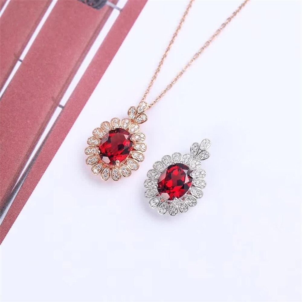 Boucles d'oreilles à la mode en argent sterling 925 naturel grenat rouge collier pendentif bague ensemble de bijoux pour mariage de fiançailles femme - 4
