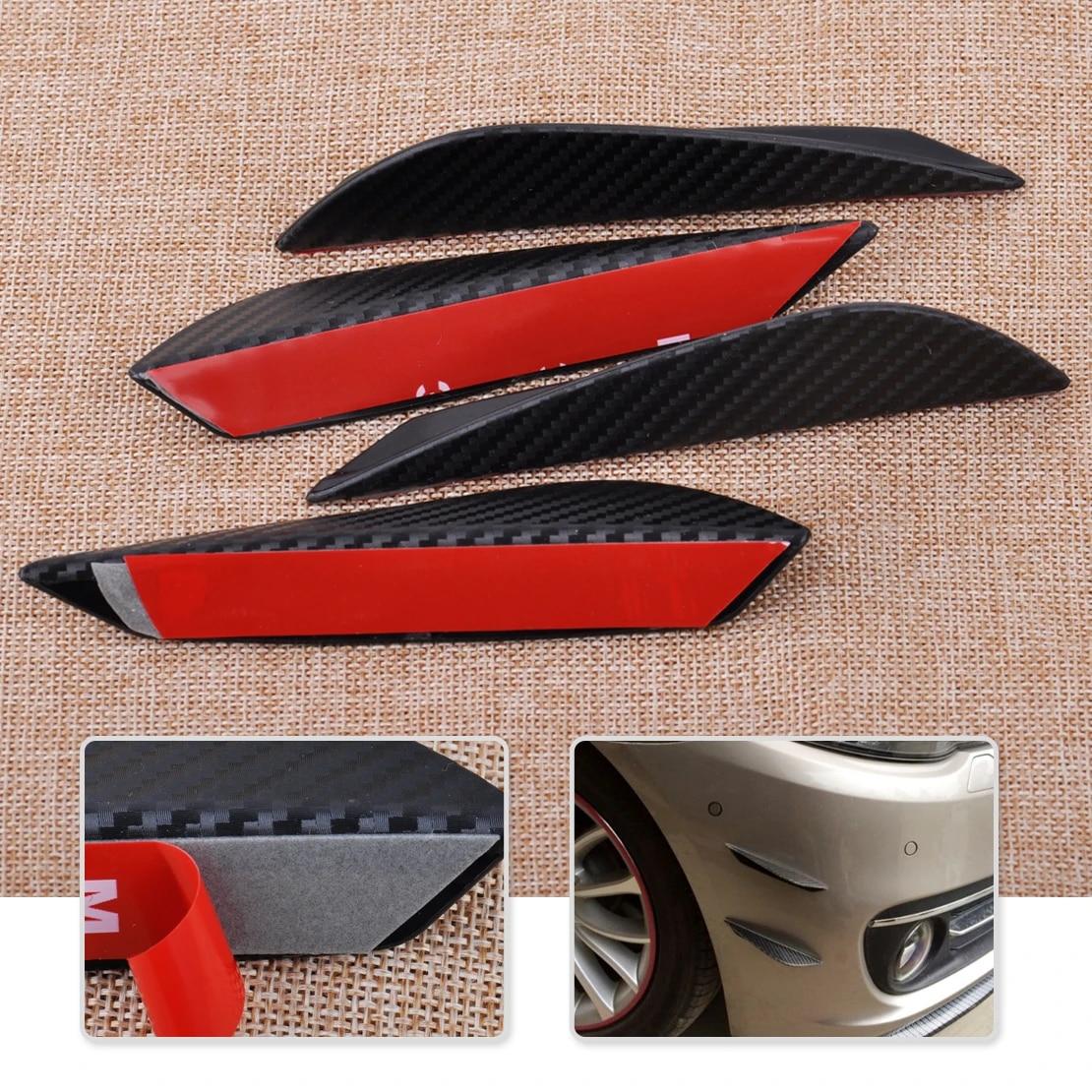 4pcs Carbon Fiber Texture Bumper Protector Lip Body Spoiler ...