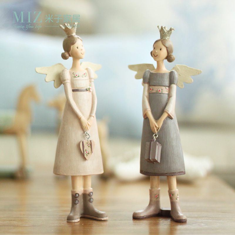 miz par corona figura muchacha del ngel con alas de ngeles de resina estilo vintage