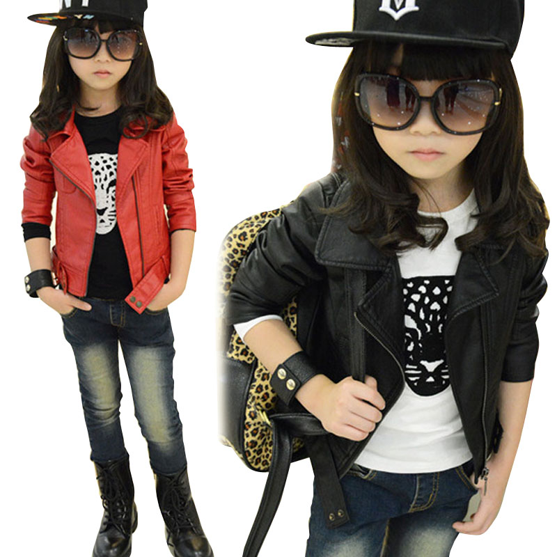 Baby Girl Leather Jacket Kids Girls Coats Spring Kids Faux Leather Jackets Girls Casual Black Solid Children Outerwear 2019 New leather jacket