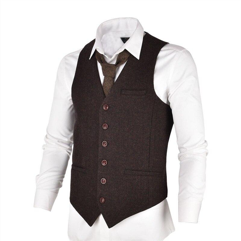 VOBOOM Coffee Color Tweed Mens Vest Suit Slim Fit Wool Blend Single Breasted Herringbone Waistcoat Men Waist Coat For Man 007