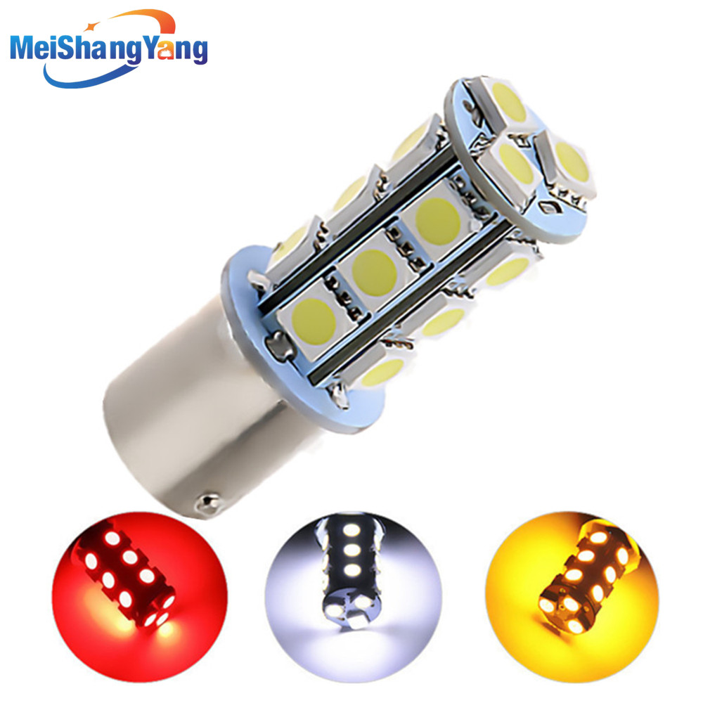 1156 BA15S 18 SMD 5050 אדום, לבן, צהוב נורות רכב LED מנורת p21w R5W אורות הפוך אותות הפוך רכב אור מקור חניה