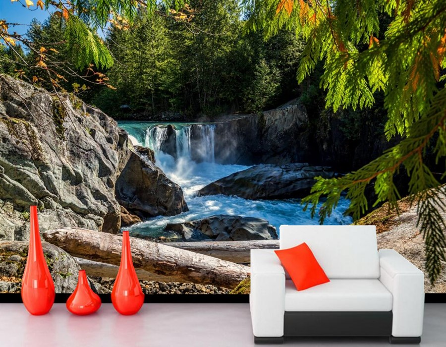 Canada Rivers Waterfalls Stones Nature wallpaper,living room sofa TV wall bedroom 3d wall mural wallpaper papel de parede large mural papel de parede european nostalgia abstract flower and bird wallpaper living room sofa tv wall bedroom 3d wallpaper