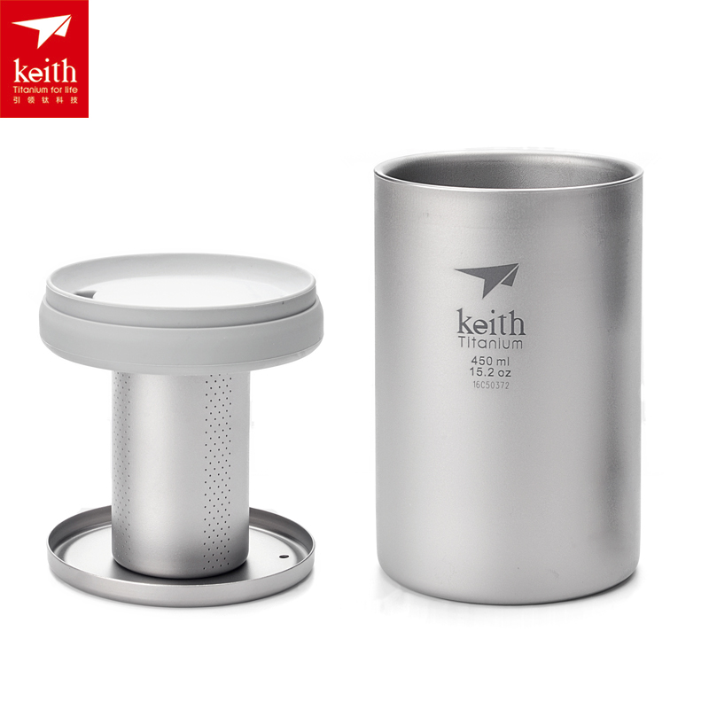 Keith Pure Titanium Double Walled Tea Cup with Lid Thermal Multi-functional Insulated Travel Lightweight Cups Ti3521