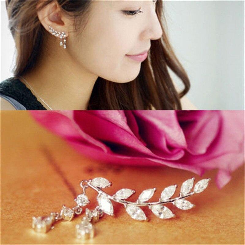 Gold Silver Crystal Zircon Leaves Tassel Ear Stud Earrings for Women Lady Fashion Jewelry Girls Earring 1pair