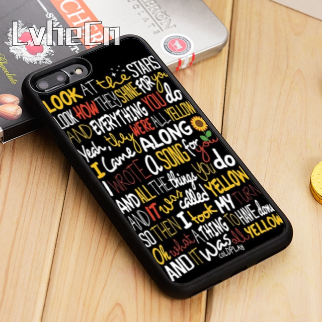LvheCn Coldplay Yellow Lyrics Phone Case Cover For IPhone 5 5s SE 5C 6 6s 7 8 X Samsung Galaxy S5 S6 S7 Edge S8 S9 Plus Note 8