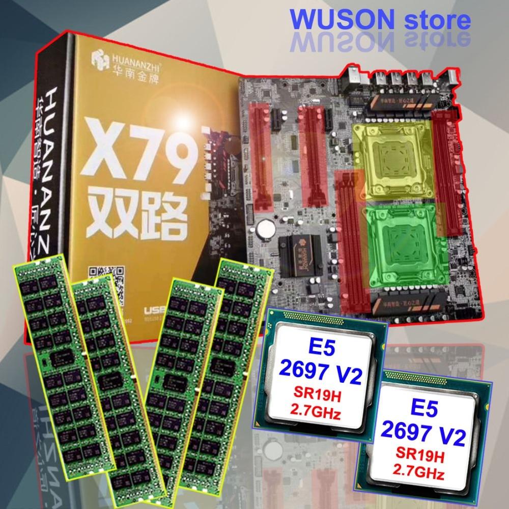Brand HUANAN ZHI dual CPU X79 LGA2011 discount motherboard bundle CPU Intel Xeon E5 2697 V2 SR19H 2.7GHz RAM 32G(4*8G) REG ECC цена