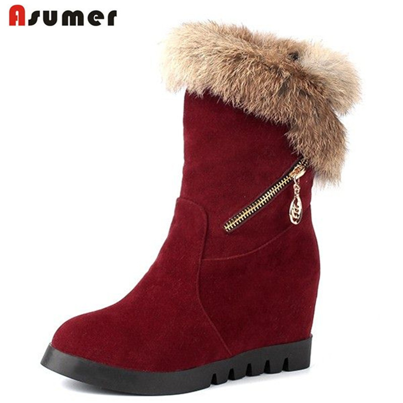 ФОТО Small and big size winter women shoes slip on unique thick fur warm snow boots round toe height increasing platform half boots