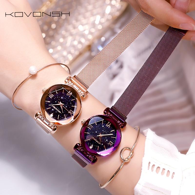 KOVONSH Starry Women Watches Magnetic Mesh Belt Band Lady Watch Stainless Steel Luxury Fashion Dress Watch Quartz Wrist Watches