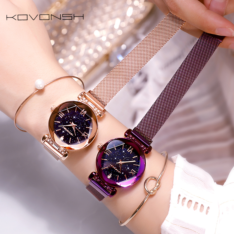KOVONSH Starry Women Watches Magnetic Mesh Belt Band Lady Watch Stainless Steel Luxury Fashion Dress Watch Quartz Wrist Watches