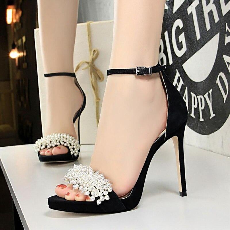 BIGTREE Sexy parti chaussures pour femmes avec talon mince et Super haut talon imperméable Table daim perle diamant femmes sandales