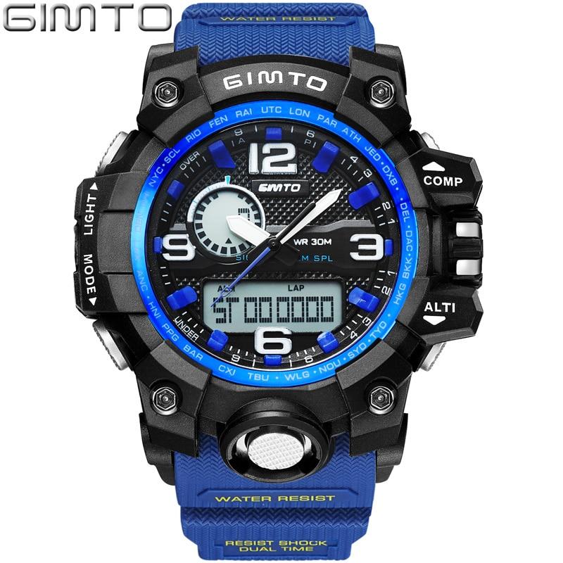 GIMTO 2018 Cool Outdoor Sport Watch Men Boy Digital LED Wristwatch Waterproof Shock Male Military Watches Relogio Masculino