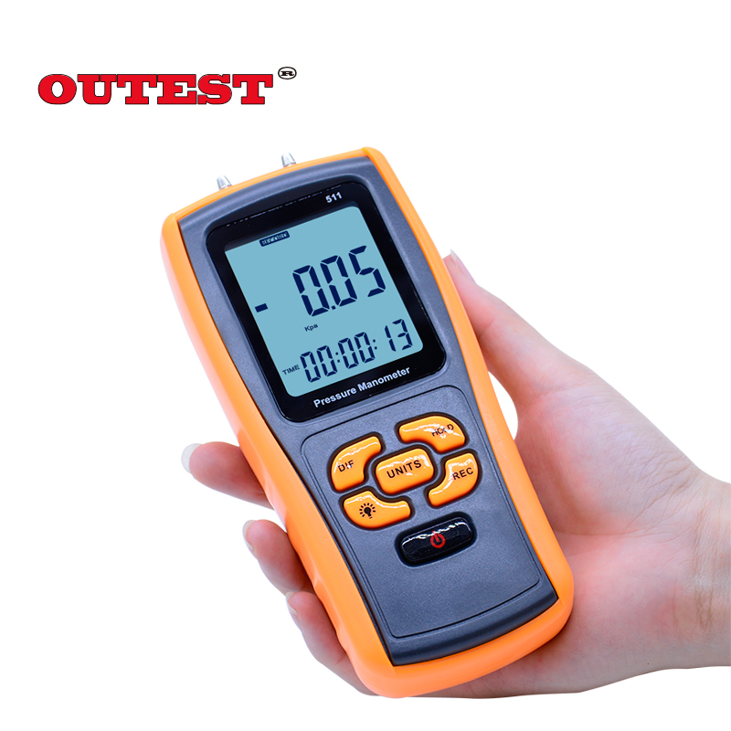 GM511 USB Pressure Gauge Handheld Pressure Manometer Measuring Range 50kPa Pressure manometer with Digital LCD display lcd pressure gauge differential pressure meter digital manometer measuring range 0 100hpa manometro temperature compensation