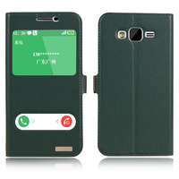 Genuine Natural Cow Cowhide Leather Case Smart View Window For Samsung Galaxy J5 J500 Magnetic Phone