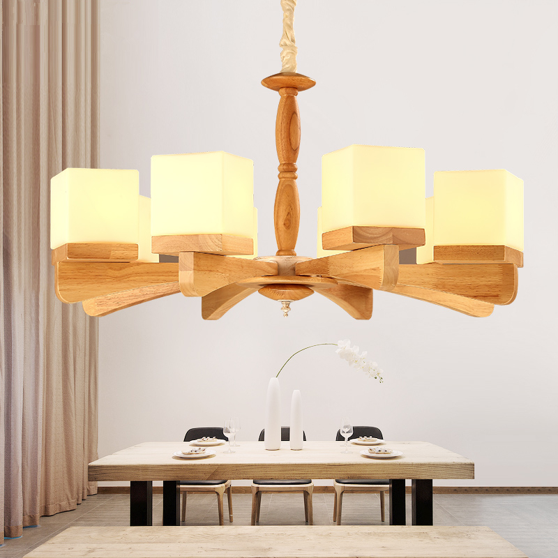 где купить Nordic living room hanging lights modern art personality solid wood chandelier Japanese style bedroom chandeliers дешево