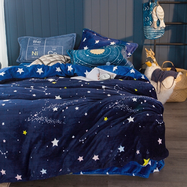 Blue Stars Flannel Duvet Cover Set Queen King Size Bedding Sets For Adults  Soft Fleece Bed